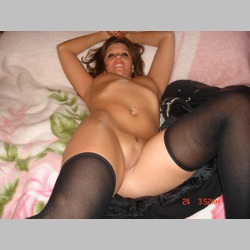 BBW-Amateur-Brunette-Black-Lingerie-Collar-in-Bed-from-DigitalHotties