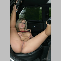 Blonde-Andrea-Randall-Black-Shirt-Black-Heels-in-Car-from-W4B