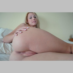 Blonde-Crystal-Black-Shirt-Dildo-in-Bed-from-FTV