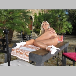 Blonde-Lola-Myluv-White-Panties-White-Heels-on-Table-in-Castel-Garden-from-InTheCrack