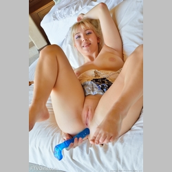 Blonde-Velvet-Rain-Blue-Dress-Dildo-in-Ass-in-White-Bed-from-FTV