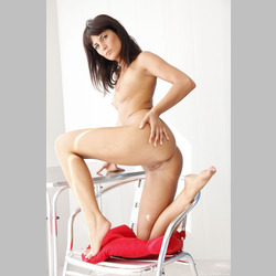 Brunette-Amandine-C-Small-Tits-on-Chair-from-Femjoy