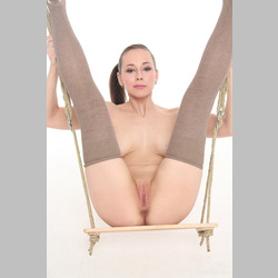 Brunette-Irina-Mira-Grey-Stockings-on-Swing-from-W4B