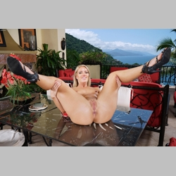 Blonde-Candice-Dare-Black-Heels-on-Table-from-InTheCrack